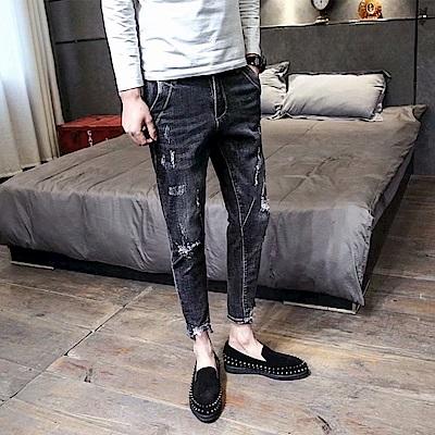 BuyGlasses 韓系窄身刷黑牛仔長褲
