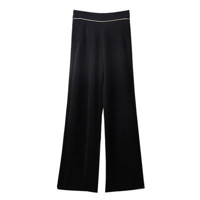 [韓國K.W.] 氣質風清爽涼感休閒褲-黑