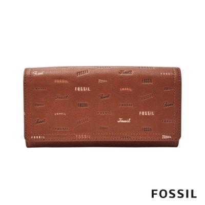 FOSSIL LOGAN 童趣三折拉鍊RFID長夾-咖啡色 SL7921914
