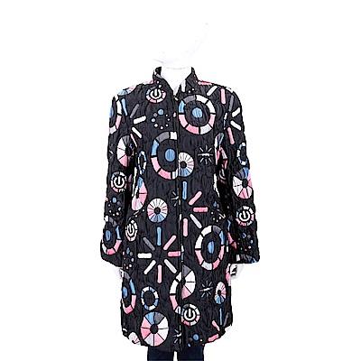 EMPORIO ARMANI 絎縫多彩圖案黑色立領長版外套