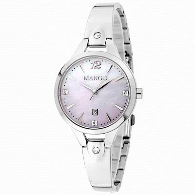 MANGO 絢爛瑰寶DAY BY DAY不鏽鋼腕錶-紫X銀