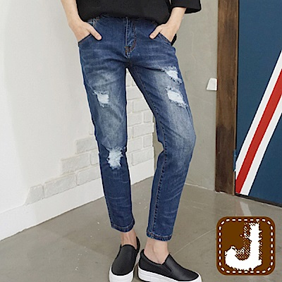 正韓 仿舊刷色抽鬚抓痕長褲-(水洗藍)100%Korea Jeans