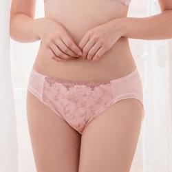 可蘭霓Clany 薔薇透膚性感三角蕾絲刺繡 M-XL內褲  甜蜜粉