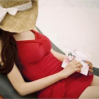 AH dream夢想女孩 鋼圈 紅色顯瘦後綁帶連身泳裝C096