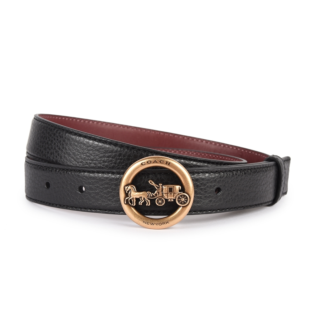 COACH 金屬馬車縷空LOGO標誌荔枝紋皮革窄版穿釦式皮帶-黑