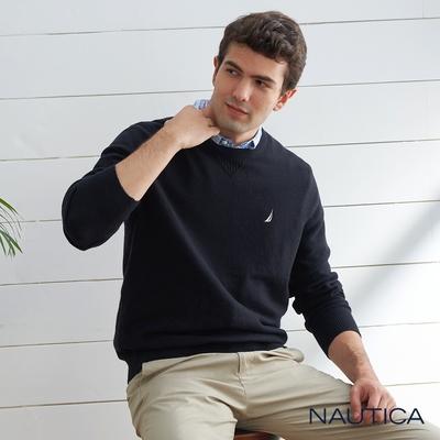 Nautica 男裝 經典素面長袖針織衫-黑色
