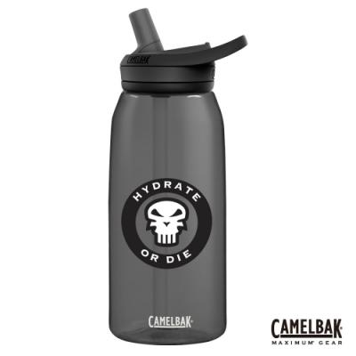 【美國 CamelBak】1000ml eddy+ 多水吸管水瓶 骷髏黑