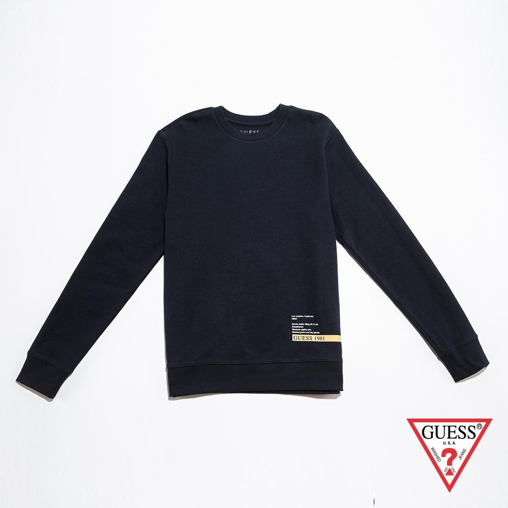 GUESS-男裝-印圖圓領長袖T恤-深藍 原價2990