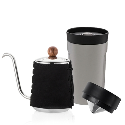【PO:Selected】丹麥DIY手沖咖啡二件組 (手沖咖啡壺-黑/隨行保溫咖啡杯350ml-灰)