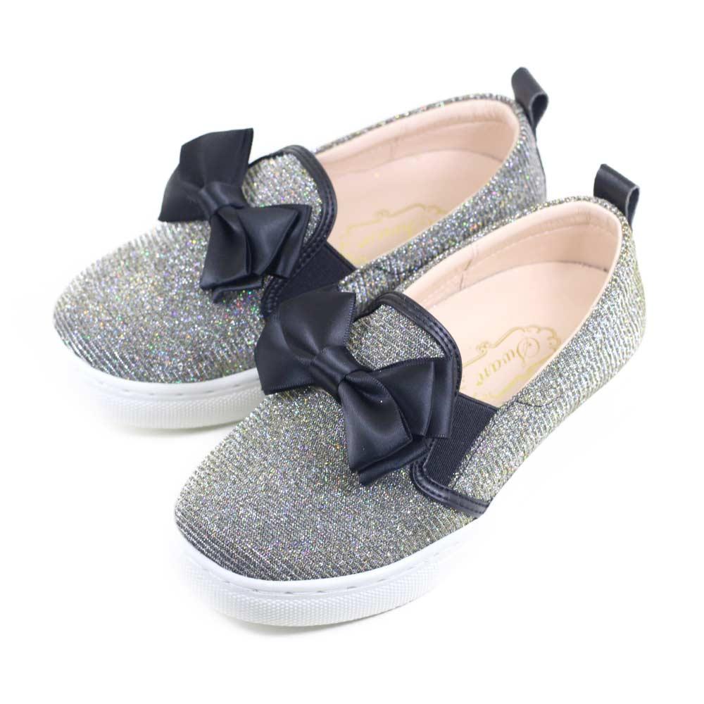 Swan天鵝童鞋-閃亮亮細蔥蝴蝶結休閒鞋3870-黑