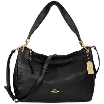 COACH Mia Shoulder Bag黑色荔枝紋全皮肩背/斜背包