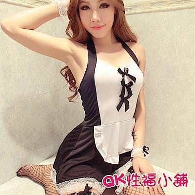 QK性福小鋪 女僕蕾絲套裝誘惑透明圍裙 QK025
