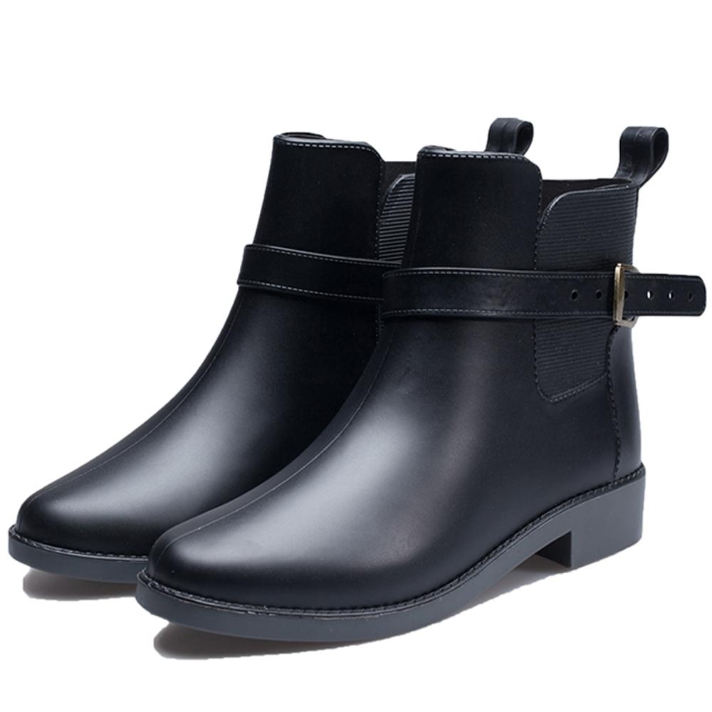 韓國KW美鞋館 小香風豔媚晴雨二用雨靴短靴-黑