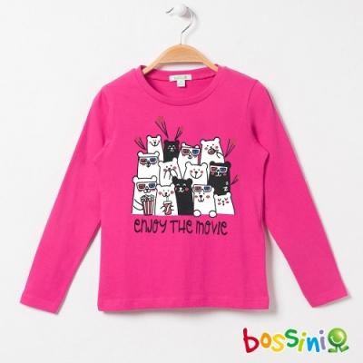 bossini女童-印花長袖T恤03桃紅