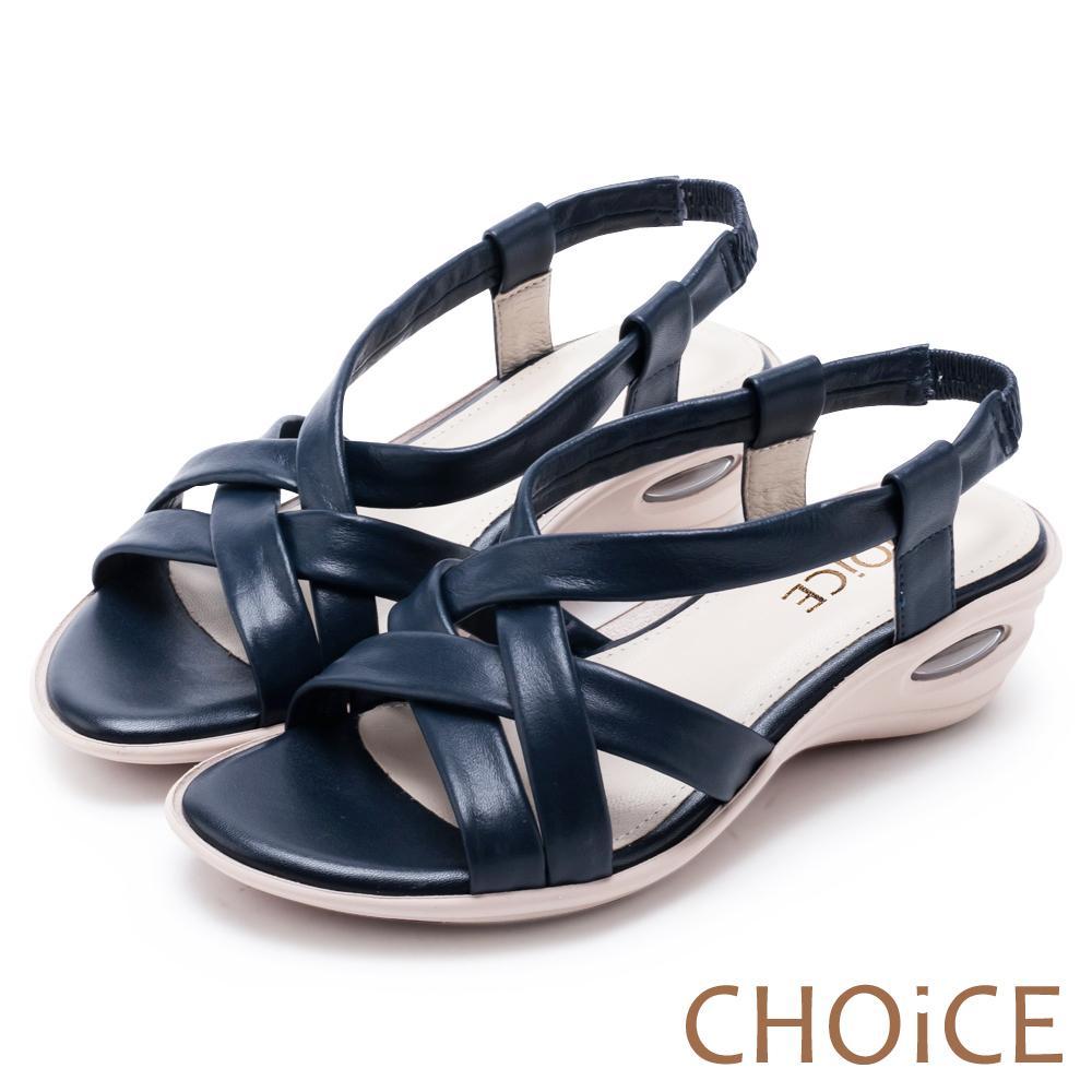 CHOiCE 簡約舒適休閒 交叉編織牛皮氣墊涼鞋-藍色