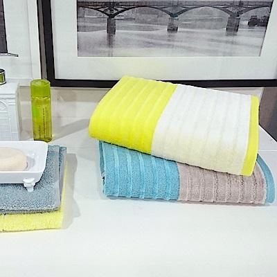 【日本丸真_買1送1】土耳其純棉超吸水毛巾禮盒三件組(方巾x1+毛巾x1+浴巾x1)-藍色