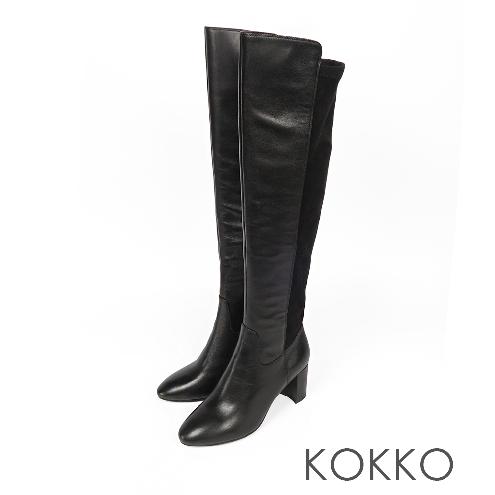 KOKKO超顯瘦拼接貼腿過膝長靴亮面黑