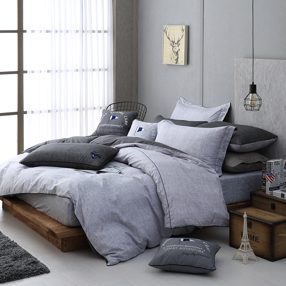 OLIVIA LUCAS 雙人全鋪棉床包冬夏兩用被套四件組 歐式枕套 200織精梳純棉 台灣製