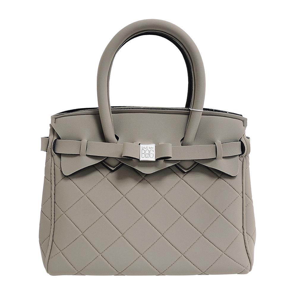 SAVE MY BAG 義大利品牌 PETITE系列菱格紋 灰橄欖綠色超輕量手提托特包