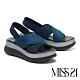 涼鞋 MISS 21 時尚針織運動風交叉帶厚底涼鞋-藍 product thumbnail 1