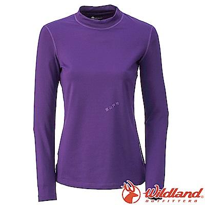 Wildland 荒野 W2651-80藍紫色 女遠紅外線保暖中領衛生衣