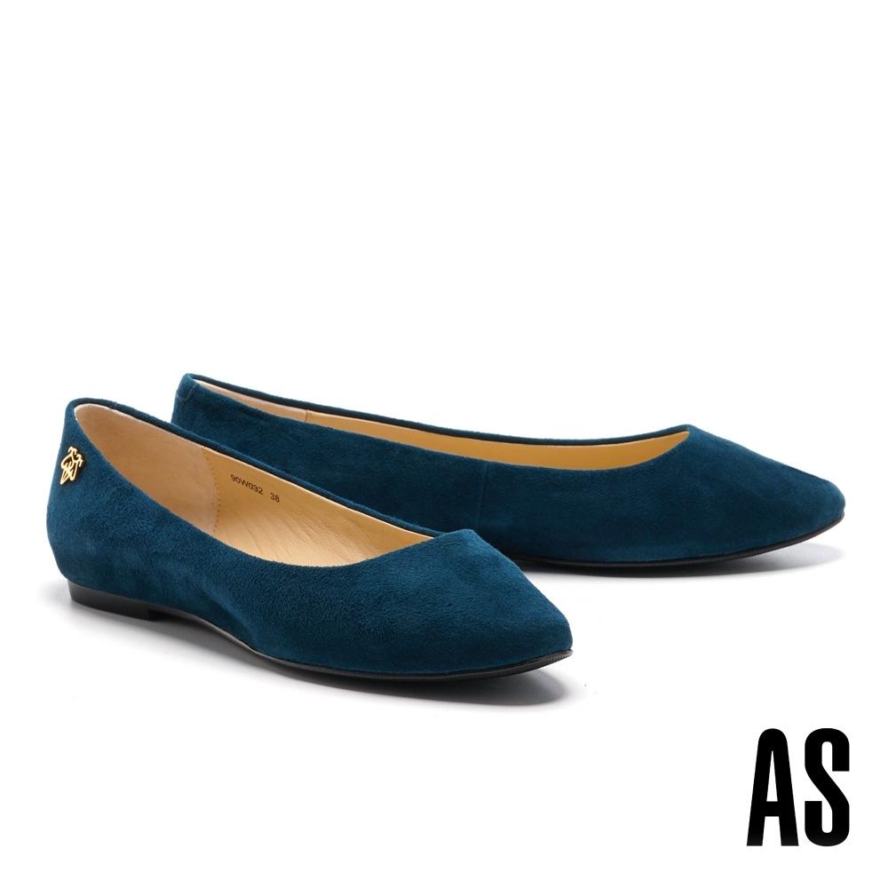 平底鞋 AS 經典質感金屬 LOGO 羊麂皮平底娃娃鞋-藍