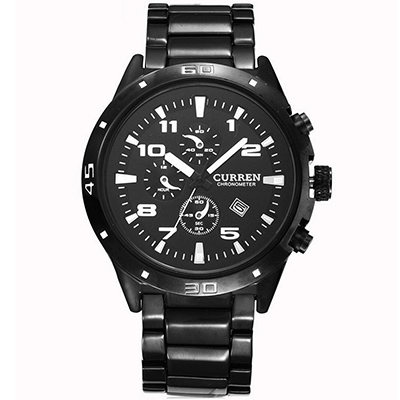 CURREN 卡瑞恩8021-彩色數字標仿三眼日曆手錶 (3色任選)