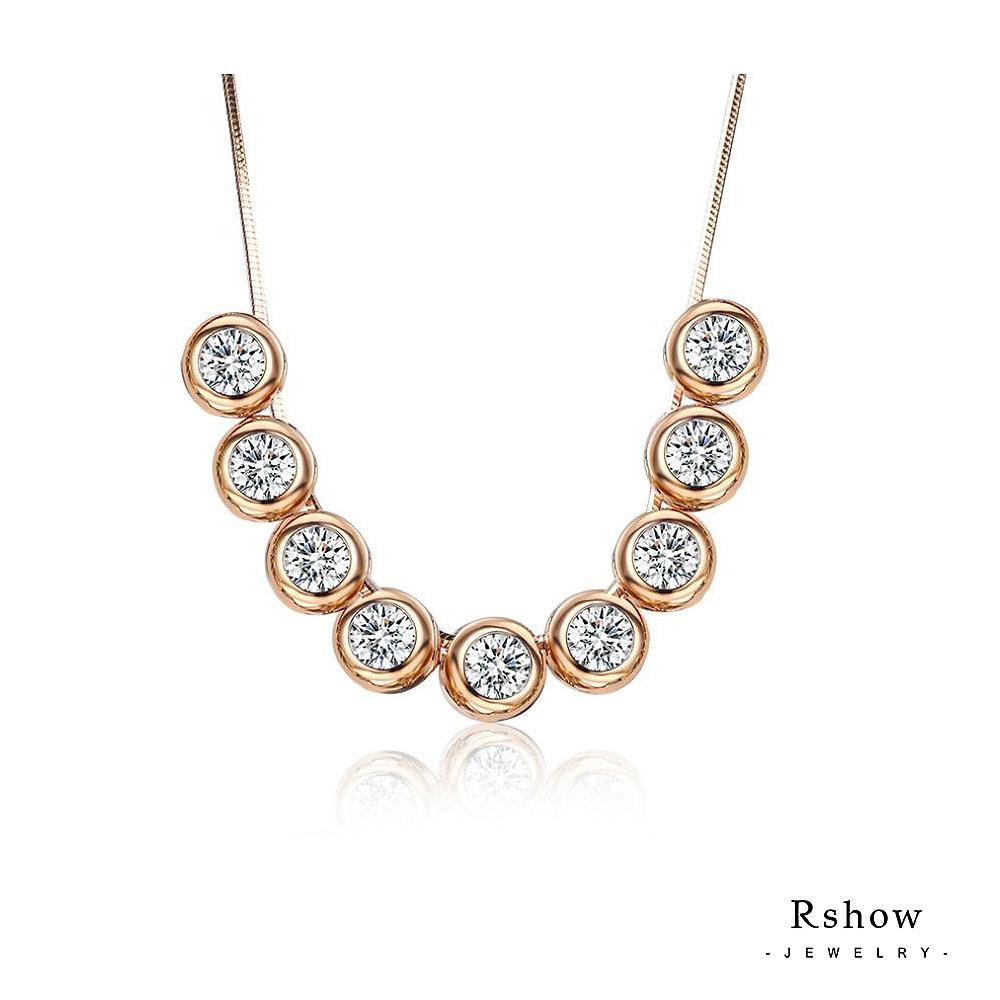 Rshow 圓舞曲單鑽排列水晶項鍊玫瑰金
