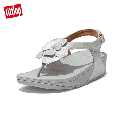 FitFlop LULU CORSAGE TOE-POST BACK-STRAP SANDALS麂皮花朵後帶涼鞋-女(銀色)