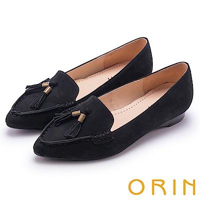 ORIN 經典復古 氣質流蘇牛皮尖頭樂福平底鞋-黑色