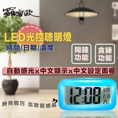 羅蜜歐 LED中文顯示光控電子鬧鐘 (顏色隨機)