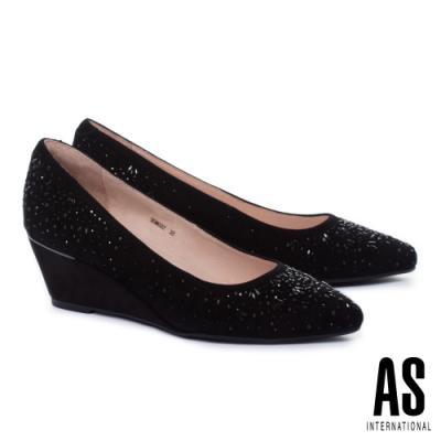 高跟鞋 AS 絢爛層次雙型珠鑽羊麂皮尖頭楔型高跟鞋-黑