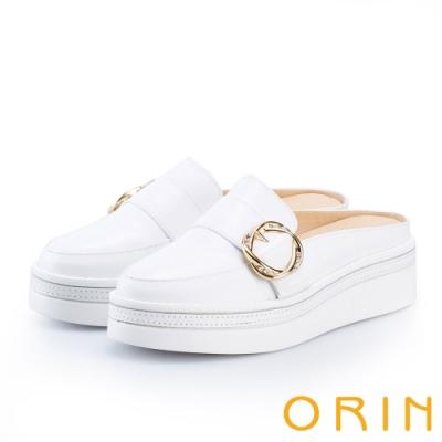 ORIN 五金水鑽牛皮厚底穆勒鞋 白色