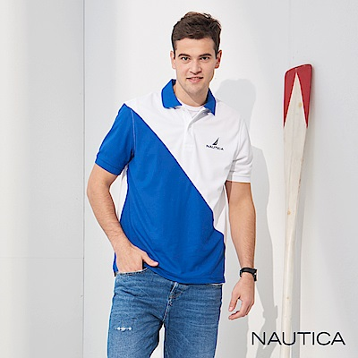 Nautica 修身拼接吸濕快乾短袖POLO衫-藍白