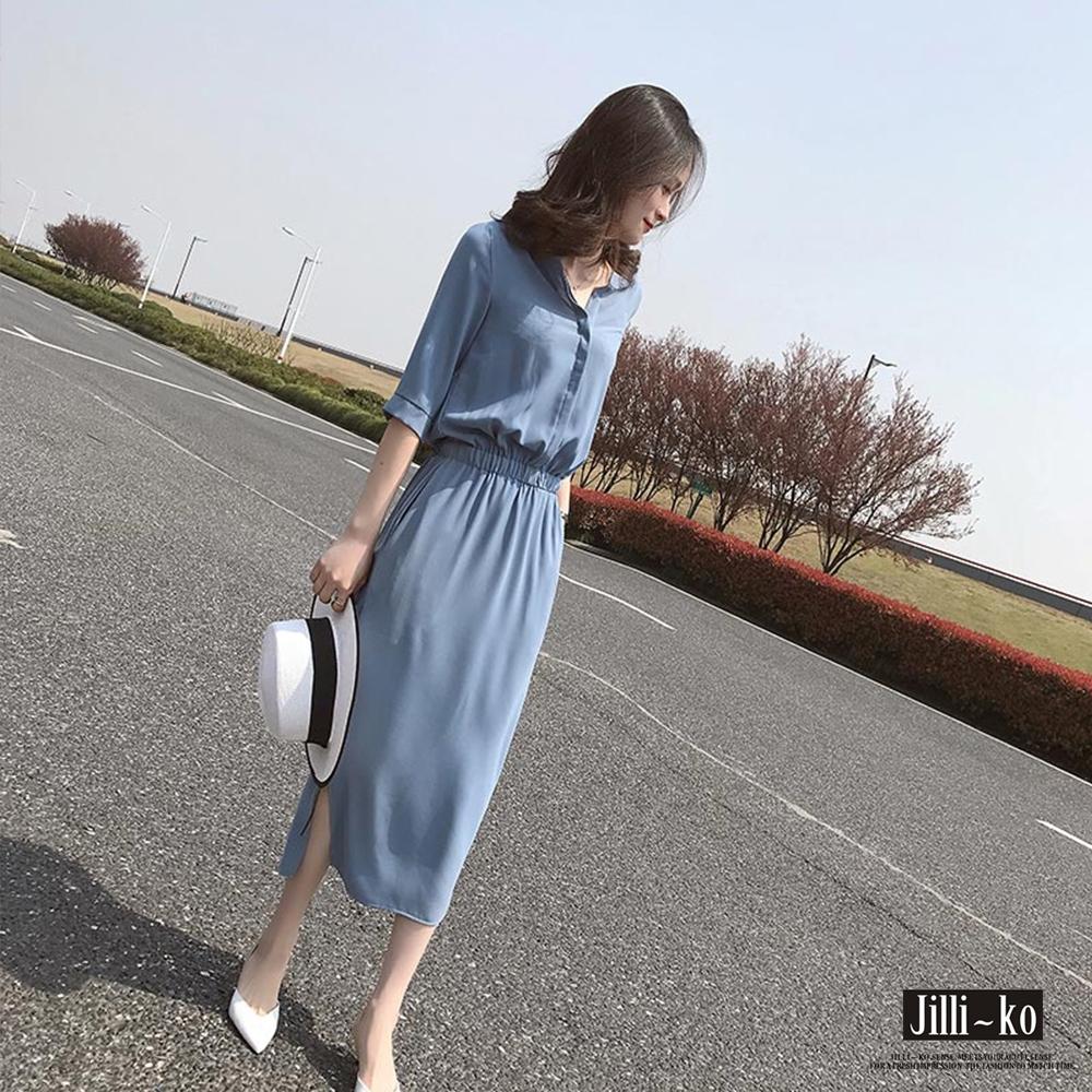 JILLI-KO 襯衫領縮腰雪紡連身裙- 黑/藍