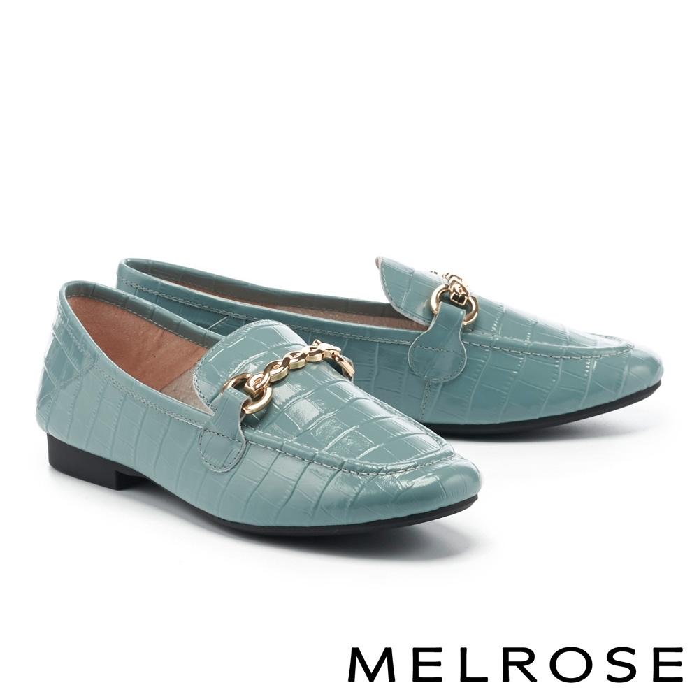 低跟鞋 MELROSE 復古時尚金屬鏈條全真皮樂福低跟鞋-藍