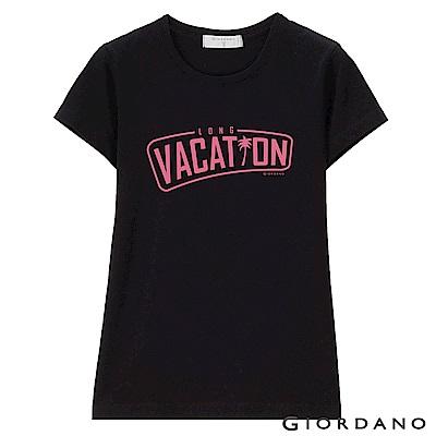 GIORDANO 女裝假期休閒印花T恤-29 標誌黑