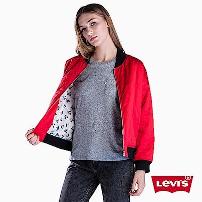 Levis x MICKEY聯名 菱格紋棒球外套 紅色