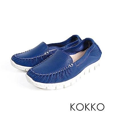 KOKKO -素面真皮輕量手工莫卡辛便鞋-莫藍迪