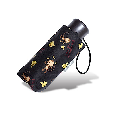 RAINSTORY 香蕉猴抗UV迷你口袋傘(黑)