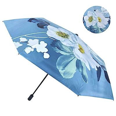 2mm 花舞彩畫 高防曬零透光黑膠降溫手開傘 (薔薇)