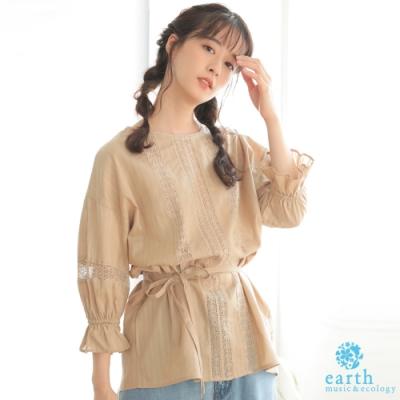 earth music 鏤空蕾絲拼接腰際綁結棉質上衣