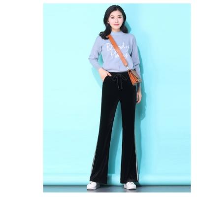 2F韓衣-韓系條紋修身喇叭褲-黑M