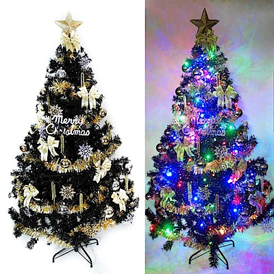 摩達客 台製6尺時尚豪華版黑色聖誕樹(金銀色系配件組+100LED燈彩光2串)附跳機控制器