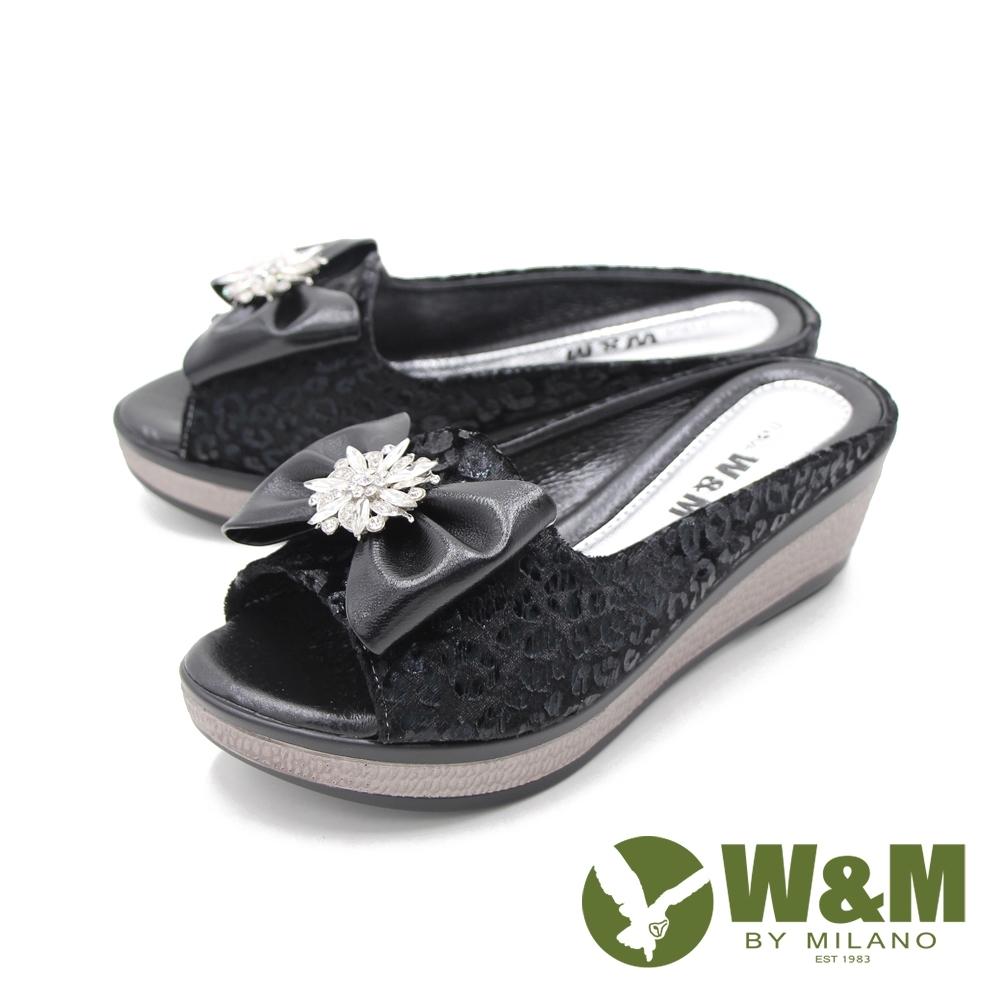 W&M (女) 魚口鑽花楔型厚底彈力涼拖鞋 女鞋 -黑(另有古銅色)