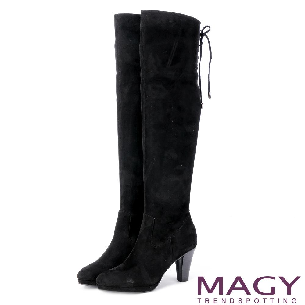 MAGY 展現獨特風采 後邊綁帶2 WAY造型及膝高跟長靴-黑色
