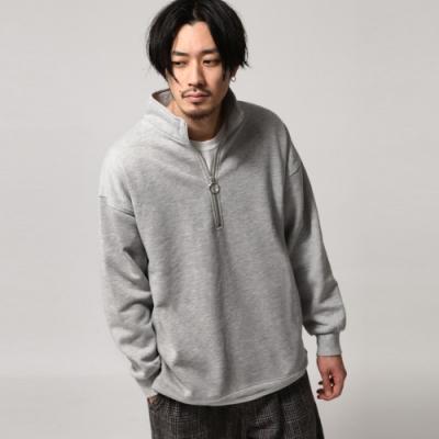 半拉鍊套頭衫內刷毛寬版大學T(4色) -ZIP日本男裝
