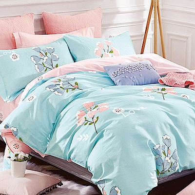 La Lune 100%40支寬幅台灣製精梳純棉雙人加大床包枕套三件組 鈴蘭美蘊