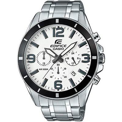 EDIFICE 頂尖專職達人全月曆計時男錶-白X銀(EFR-553D-7B)/36mm
