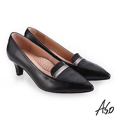 A.S.O 義式簡約 俐落都會女性真皮高跟鞋 黑